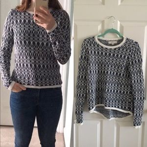 Cute LOFT sweater top blue and white
